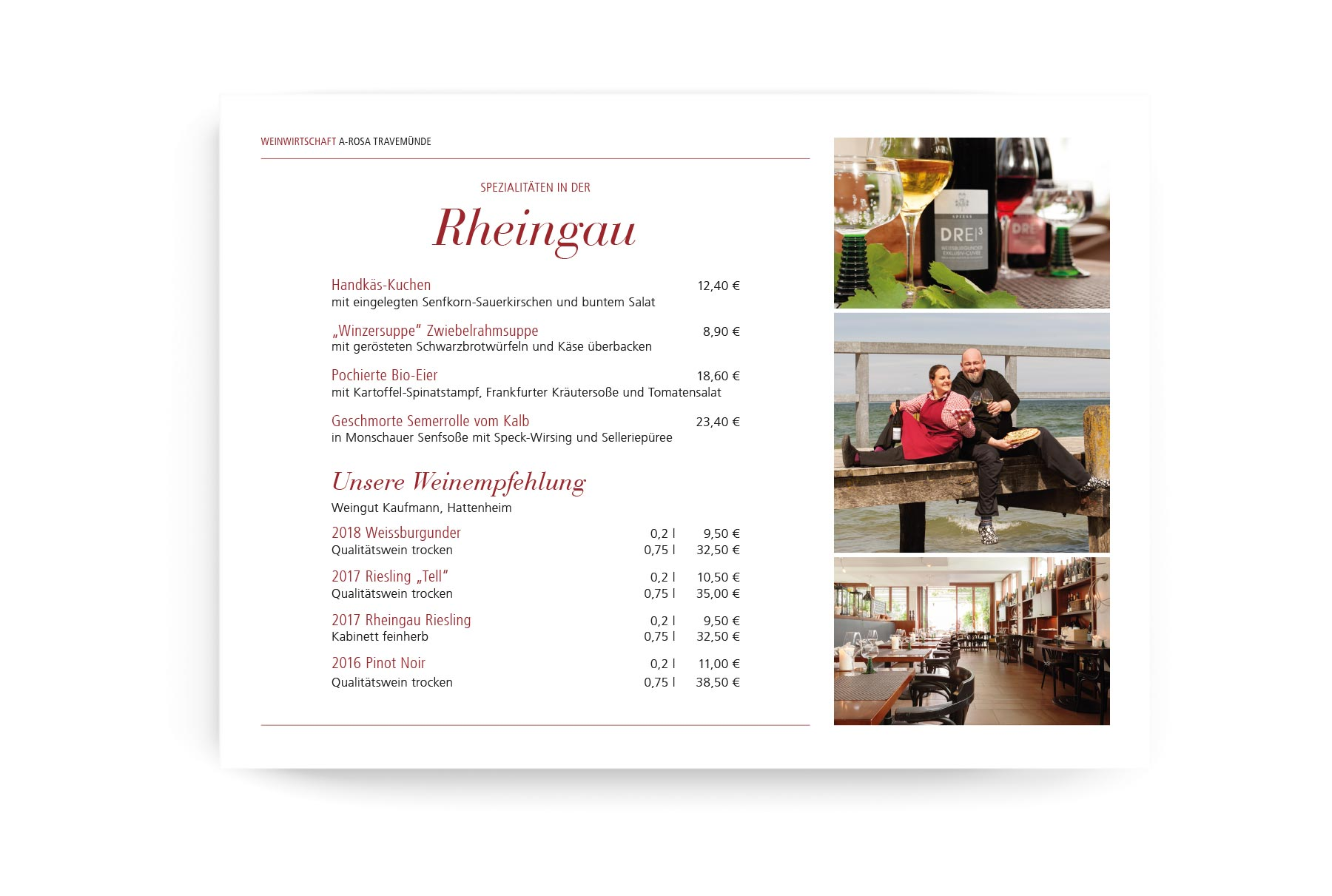 menucard printed through Hotel MSSNGR Carbon