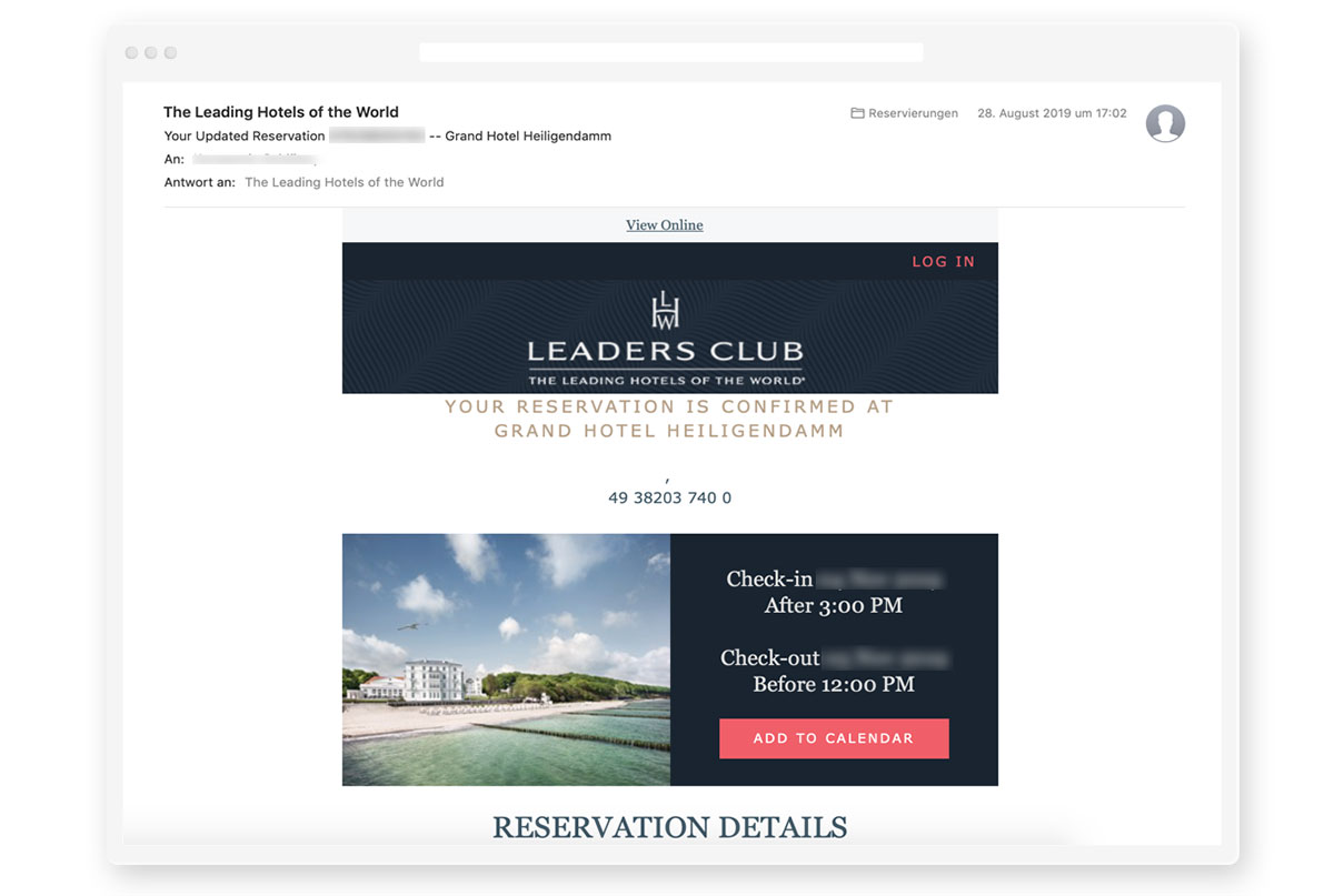 picture of a pre-arrival newsletter with Hotel MSSNGR